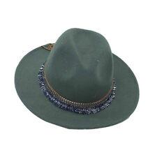 Mujer señoras Fedora Fieltro Lana Ala ancha Cloche Floppy sombreros de Cuero  Detalle De Encaje 6931e211aa1f