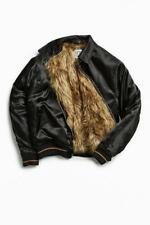 Urban Outfitters Mens  BLack  Satin Faux Fur Lined Bomber Jacket Coat Small