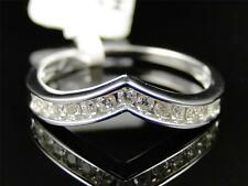 14K White Gold Womens Round Cut Diamond Channel Set Enhancer Wedding band Ring