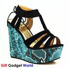 Ladies Sandals Wedge Womens High Heel Shoes 4 5 6 7 8 Black India JANUARY SALE