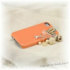 iPhone 4 4S Hard Case Schutz Hülle Etui Cover Kette Diamant Eiffelturm Orange