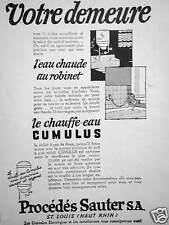 PUBLICITÉ 1965 PROCÉDÉS SAUTER SA. CHAUFFE EAU CUMULUS L'EAU CHAUDE AU ROBINET