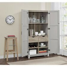 Kitchen Storage Cabinet Doors Shelves Drawers Home Pantry Organization Wood  Gray