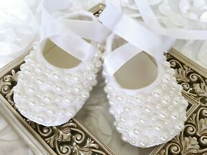 Baby Girl White Pearls Christening Baptism Shoes