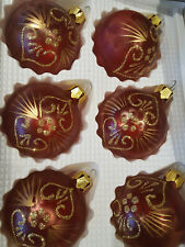 6 x Vintage Frosted Red & Gold Christmas Festive Handmade Glass Baubles