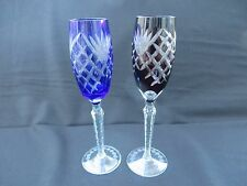 """2 Bohemian Color Cut to Clear Champagne Wine Flute Glasses Blue & Burgundy 10.5"""""""
