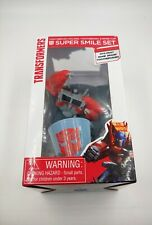 NIB Transformers Super Smile 3 Piece Bathroom Set Toothbrush Holder & Rinse Cup