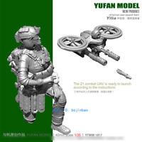 1/35 US Female Soldier And UAV Unpainted Resin Model Kit YuFan Model Garage Kit