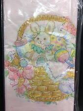 """Baby Girl- Baby Bunny In A Basket 6 Pack Of 54""""x102"""" Amscan Table Cloths NEW"""