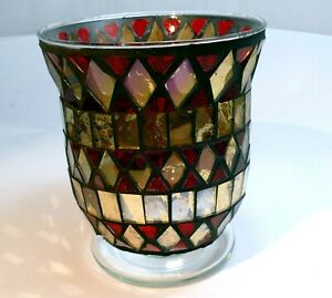 """4.5"""" Glass Candle holder Red Yellow Candleholder  tealight hand made colorful"""