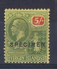 British Virgin Island 1922 KGV SG 101. 5/- SPECIMEN STAMP SEE SCANS POST FREE UK