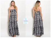 Fashion Women Casual Tribal Empire Waist Maxi Dress Spaghetti Strap Floor Length