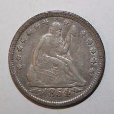 1854 Seated Silver Quarter CV15