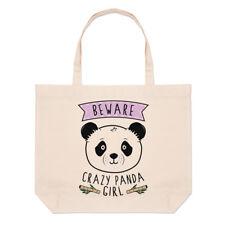 Beware Crazy Panda Girl Large Beach Tote Bag - Funny Animal