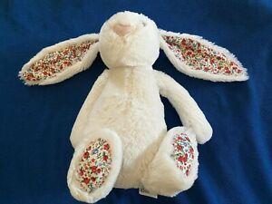 "Jellycat Bunny Rabbit White Bashful Blossom Jasmine Flower Ears Floral Plush 12"""