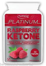30 Raspberry Ketone Platinum, African Mango,Caffiene Weightloss Diet Slim Pills