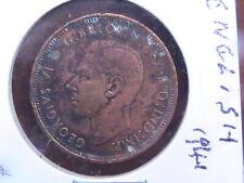 Uk Great Britain Half 1/2 Penny 1941 Coin British Wwii Ship George Vi Bronze