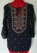 VANESSA VIRGINIA MONACO TOP BEADED BLOUSE EMBROIDERED BLING NAVY BLUE SIZE 0 *C