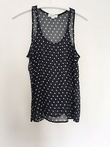 FOREVER 21 M Womens Vest Semi Sheer Polka Dots Pocket 10 38 Cami Camisole Top x