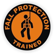 Fall Protection Trained Hard Hat Sticker | Safety Decal | Harness Boom Label USA
