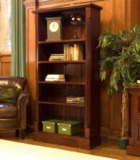 La Roque Dark Wood 5 Shelf Bookcase Large Display Unit Solid Mahogany