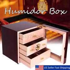 Wood Gloss Piano Finish Cedar Cigar Cabinet Humidor 3 Drawers Fit COHIBA US