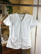 Grey's Anatomy By Barco Sz XS Scrubs Top Lot Of 3 Gray & White V-Neck Pockets