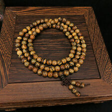 6mm Tibet Buddhism 108 Flowers nanmu wood Prayer Bead Mala Necklace