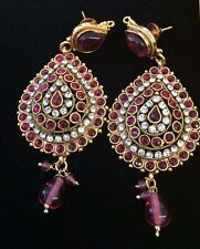 Ethnic Beautiful Bollywood Bridal White  Pink Gold Indian  Earrings