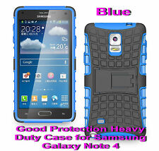For Samsung Galaxy Note 4 Blue Heavy Duty Strong Protective Case Cover Stand