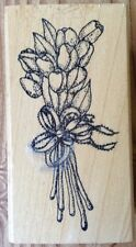 Imagine That Tulip Flower Bouquet Wood Mounted Rubber Stamp F-067