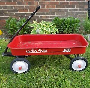 Vintage Classic Red Steel Radio Flyer 90 Red Wagon Vintage - Rolls Good
