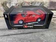 NEW IN BOX Ferrari 1/18 Scale Die Cast Model BURAGO 1987 Ferrari F40 Red