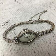 Hamilton Antique Solid 14K White Gold Diamond Vintage Ladies Watch