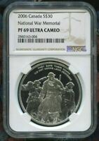 2006 CANADA $30 - NATIONAL WAR MEMORIAL - NGC PF69 UC /w BOX & COA