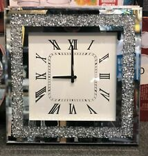 Diamond Crush Silver Crystal Large Sparkly Mirrored Square Wall Clock 46x46x5cm