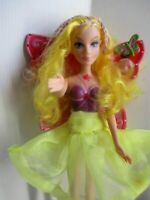 Barbie fairy doll golden blonde hair with pink hair ladies skirt & yellow shoes