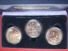 Jersey Alderney 2005 End of WW II Liberation 3x £5 Pound Crown Coin set cased