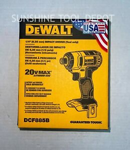 "Dewalt DCF885 Lithium Ion 20V Max Cordless 1/4"" Impact Driver 20 Volt"