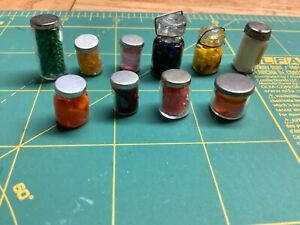 Dollhouse Miniature Glass Jar Food Lot 1/12 Artist made 10 piece