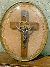 New listing Religious Jesus Crucifix Cross In Oval Frame With Bubble Glass