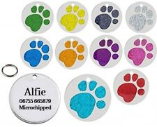 Personalised Engraved Glitter Paw Print Tag Dog Cat Pet ID Tags Pet Tag 25mm