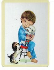 G-29 swap playing card MINT cond RETRO STYLE CUDDLING PLAYING WITH PUPPIES