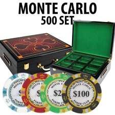 Monte Carlo Casino Poker Chip Set 500 Poker Chips Hi Gloss Wood Case