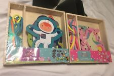 HORIZON GROUP 16 PIECE WOODEN LACING SHAPES Unicorns Space OCCUPATIONAL Therapy