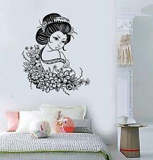 Vinyl Decal Geisha Japan Japanese Flowers Asian Art Decor Wall Stickers (ig3516)