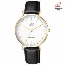 New CITIZEN Q&Q Watches Standard White/Gold Black Leather Belt Q978J111Y Men's