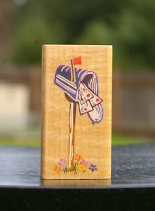 """Mailbox USPS 2 5/8"""" Wood Mounted Rubber Stamp 1994 by Stampendous # L040"""