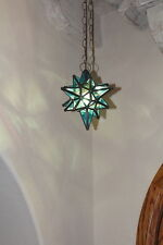 "Moravian 9.5"" blue topaz glass star different size points"