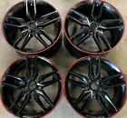 Four 2018 Corvette C7 Factory 19 20 Wheels Rims Oem Black Red Stripe 19302117
